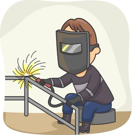soldador: Ilustración con un soldador en el trabajo