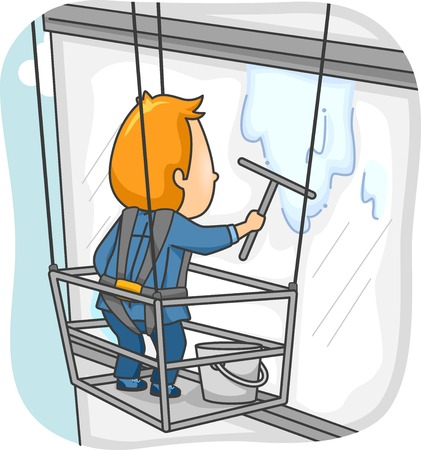 Illustration Featuring a Man Cleaning the Window of a High Rise Building Vector