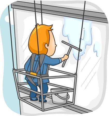 Illustrazione Caratterizzato da un uomo Pulizia della finestra di un edificio alto
