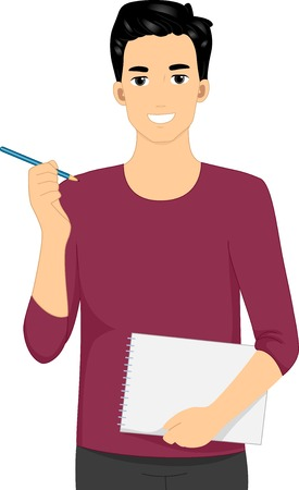 cartoon adult: Illustration Featuring a Male Designer Holding a Pencil and Notebook Illustration