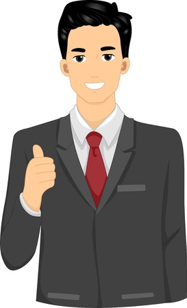 cartoon adult: Illustration Featuring a Businessman Giving a Thumbs Up Illustration