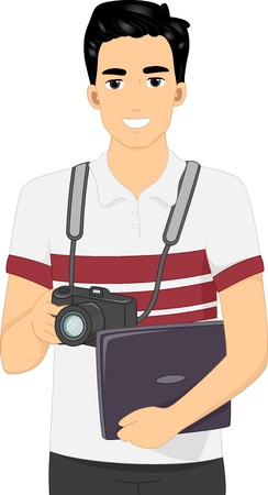 cartoon adult: Illustration Featuring a Man Holding a Digital Camera in One Hand and a Laptop in the Other