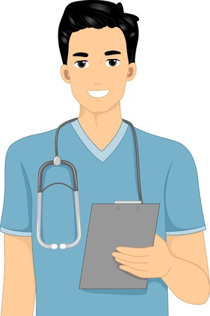 Illustration Featuring a Male Nurse Holding a Clipboard Vectores