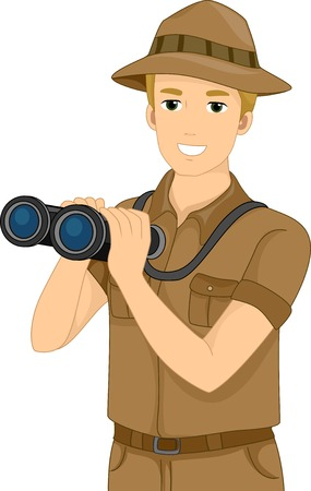 Illustration Featuring a Man Holding a Pair of Binoculars Vector