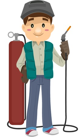 gas cylinder: Illustration Featuring a Man Holding a Cutting Torch Illustration