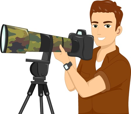 Illustration Featuring a Wildlife Photographer Vector
