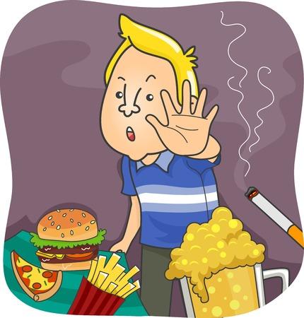 malos habitos: Ilustración con un hombre que dice No a alimentos poco saludables y común Vicios