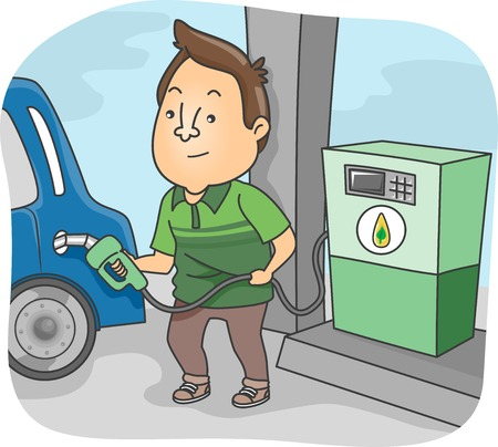 refuel: Illustration Featuring a Man Filling His Cars Tank with Biofuel