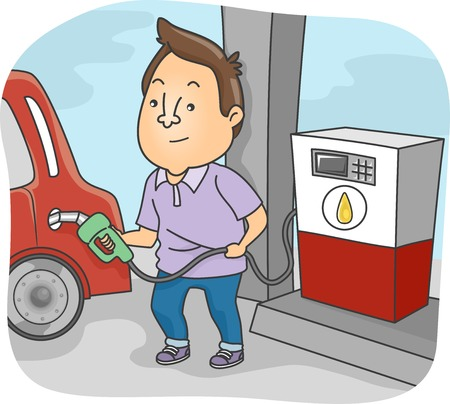 Illustration Featuring a Man Filling His Car's Tank with Fuel