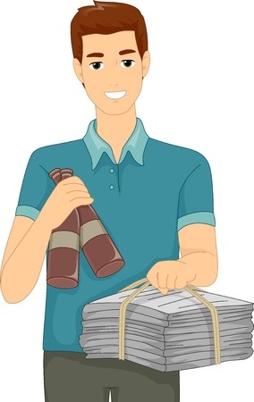 recyclable: Illustration Featuring a Man Carrying Recyclable Materials