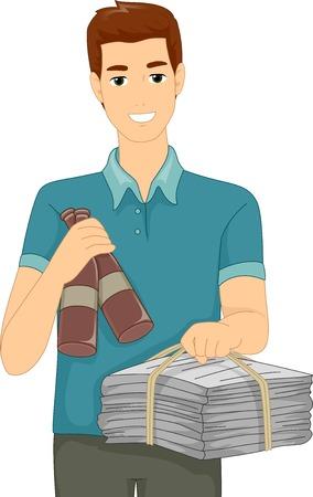 reciclable: Ilustración con un hombre que lleva Materiales Reciclables