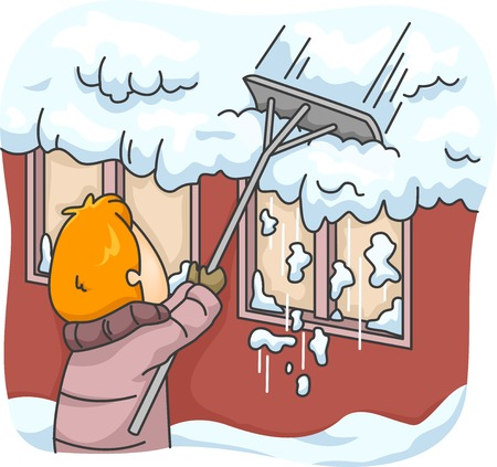 clearing: Illustration Featuring a Man Raking Snow Off His Roof
