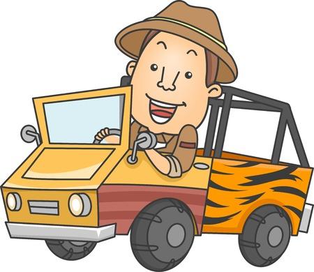 Illustration Featuring a Man Driving a Safari Truck Vettoriali