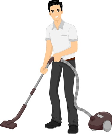 Illustration Featuring a Man Using a Vacuum Cleaner 向量圖像