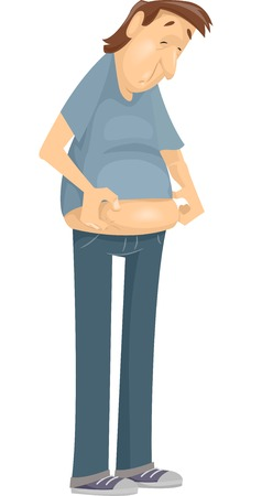 pot belly: Illustration Featuring a Man Checking Out His Beer Belly