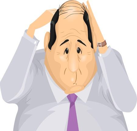calvicie: Ilustración con un hombre angustiado por su pérdida de pelo