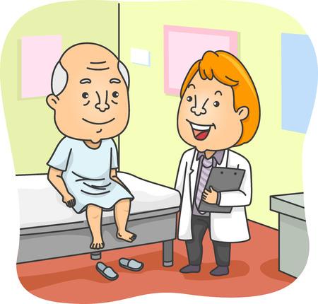 의료 검진을 가진 노인을 갖춘 그림