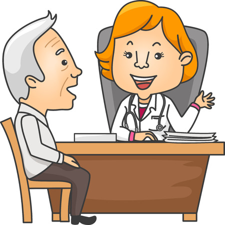 outpatient: Illustration Featuring an Elderly Man Talking to His Doctor