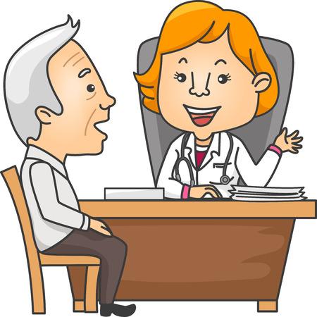 consulta médica: Ilustración con un hombre mayor Hablando con Su Médico Vectores