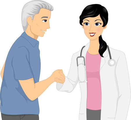 Illustration Featuring a Doctor and Her Elderly Patient Shaking Hands Vector