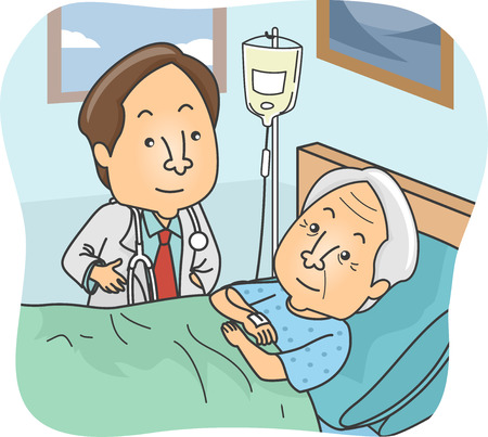 Illustration Featuring a Doctor Checking Up on His Elderly Patient Vector