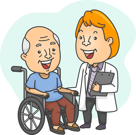 Illustration Featuring a Doctor Checking Up on His Wheelchaired Patient Vector