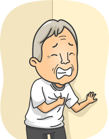 Illustration Featuring an Elderly Man Having a Heart Attack