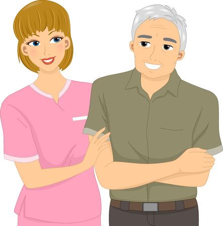 home care nurse: Illustration Featuring a Nurse Assisting an Elderly Patient