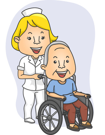 Illustration Featuring a Nurse Pushing a Wheelchaired Patient Vector