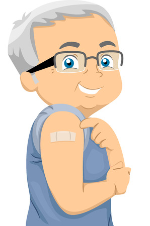 flu shot: Illustration Featuring an Elderly Man Showing His Bandaged Arm