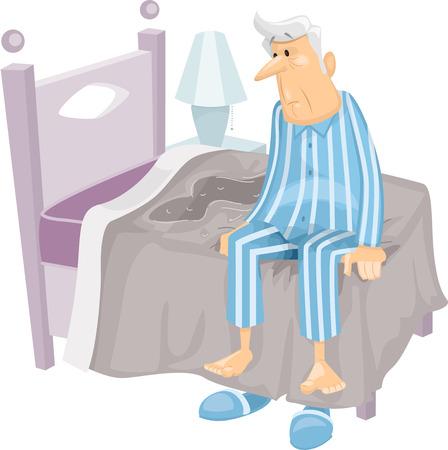 Illustratie Met een oudere man die net Bevochtig Zijn Bed Stock Illustratie