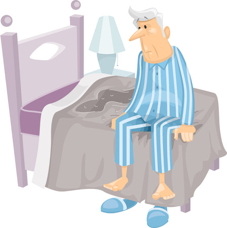 urination: Illustration Featuring an Elderly Man Who Has Just Wet His Bed
