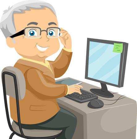 Illustratie Met een oudere man met behulp van de computer
