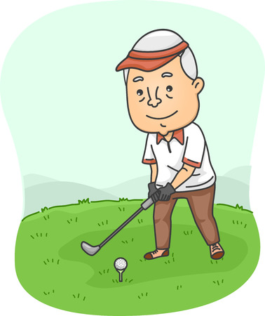 Illustration Featuring an Elderly Male Playing Golf Vector