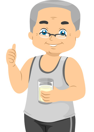 cutout old people: Illustration Featuring an Elderly Male Holding a Glass of Milk