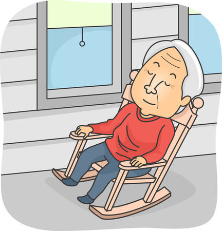 Illustration Featuring an Elderly Man Taking a Nap in a Rocking Chair Ilustração