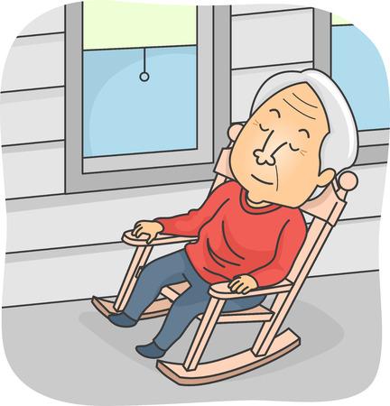 Ilustración con un hombre mayor que toma una siesta en una mecedora