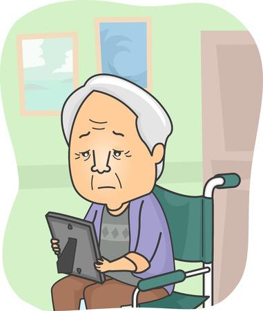 family picture: Ilustraci�n con un abuelo en un asilo de ancianos mirando una foto de la familia
