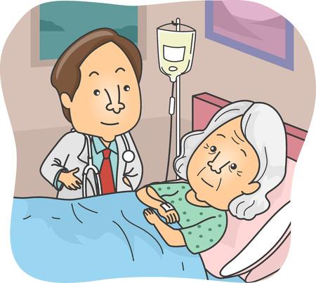 damas antiguas: Ilustración con un Doctor en control de un paciente durante una de sus rondas Vectores