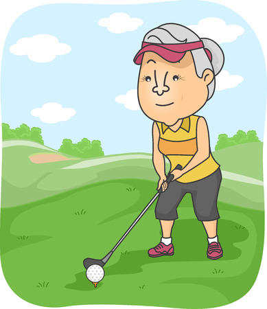 middle age women: Illustration Featuring an Elderly Female Playing Golf