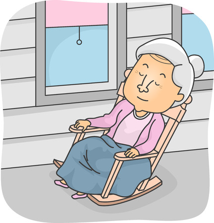 Illustration Featuring an Elderly Man Taking a Nap in a Rocking Chair Illustration
