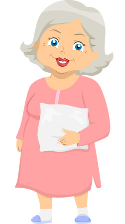 middle aged woman: Illustration Featuring an Elderly Woman Wearing Pajamas Illustration