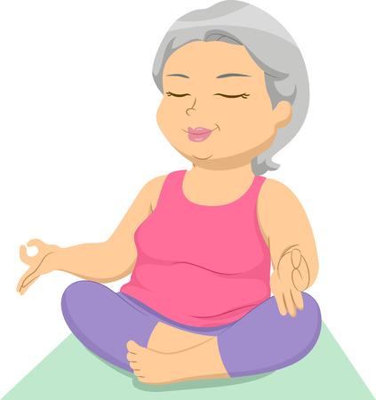 Ilustración con una hembra de edad avanzada que hace yoga
