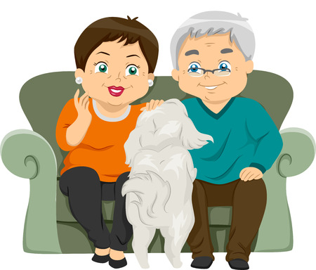 middle age woman: Illustration Featuring an Elderly Couple Petting Their Dog Illustration