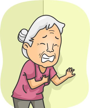 Illustrazione con una donna anziana che ha un attacco di cuore Vettoriali