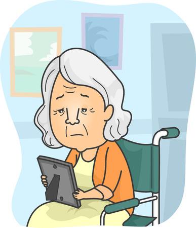 Ilustración con una abuelita en un asilo de ancianos mirando una foto de la familia Foto de archivo - 33285529