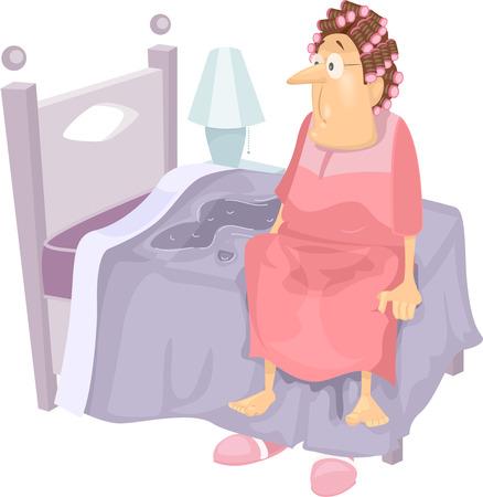 젖은 침대에 노인 여성이 깨어 특징 그림