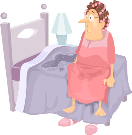 Illustration Featuring an Elderly Woman Waking Up to a Wet Bed Vettoriali
