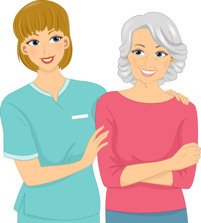 Illustration Featuring a Female Nurse and Her Elderly Patient Vector
