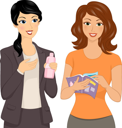 Illustration Featuring a Direct Seller Making a Sales Pitch